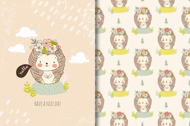 Joli petit hérisson avec des fleurs dans la carte de style dessiné à la main et le modèle sans couture