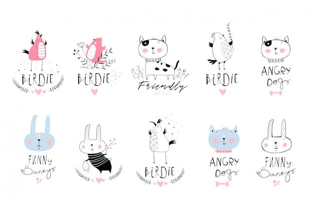 Joli petit logotype serti de petits animaux mignons.