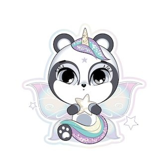 Joli petit panda avec des ailes de papillon et une corne tenant une étoile couleurs douces pastel