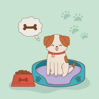 Joli petit personnage de mascotte de chien