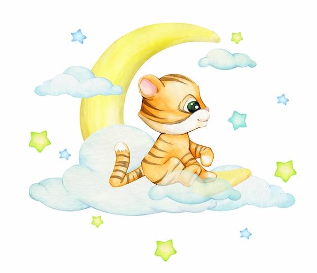 Joli petit tigre, assis sur la lune, sur fond d'étoiles et de nuages, un concept à l'aquarelle