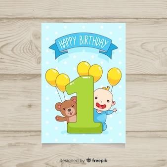 Joli premier modèle de carte d'anniversaire