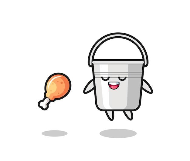 Joli seau en métal flottant et tenté à cause du poulet frit, design de style mignon pour t-shirt, autocollant, élément de logo
