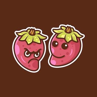 Joli sourire de piment et illustration d'autocollant en colère