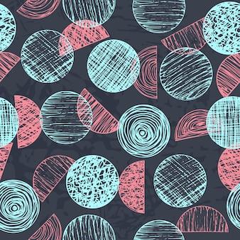 Joli vecteur abstrait coloré texturé dessinés à la main gribouillage formes rondes modèle sans couture