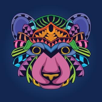 Joli visage d'ours de couleur pop