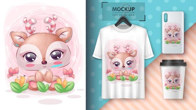 Jolie affiche de cerf en fleur et merchandising