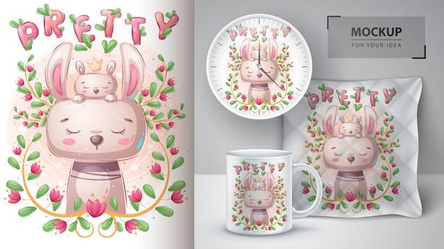 Jolie affiche de lapin et lapin et merchandising