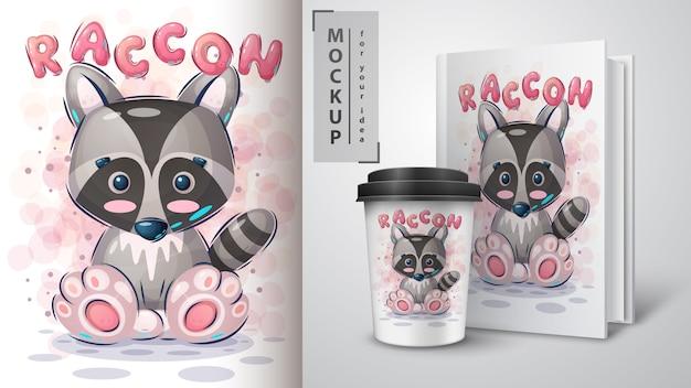 Jolie affiche de raton laveur et merchandising