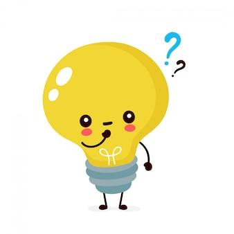 Jolie ampoule souriante heureuse avec point d'interrogation. illustration de dessin animé plat. isolé sur fond blanc. concept de caractère ampoule