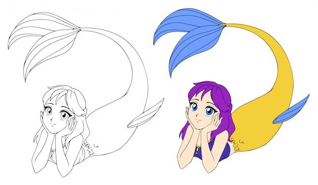 Jolie anime sirène allongée. cheveux violets et queue de poisson jaune.
