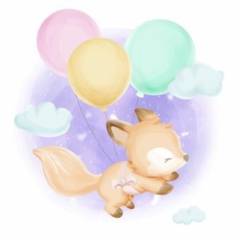 Jolie aquarelle foxy et ballons