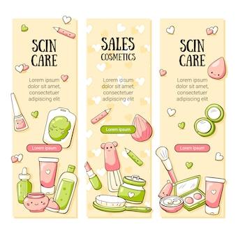 Jolie bannière avec cosmétiques bio doodle et bouton