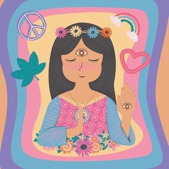 Jolie belle boho bohème bohème hippie hippie hippie fille femme dans un style plat couleur