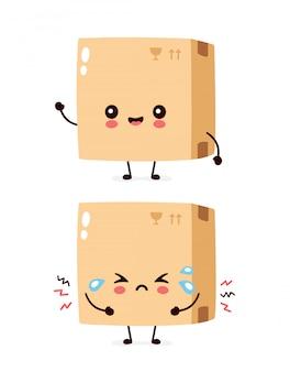 Jolie boîte de livraison heureuse et triste