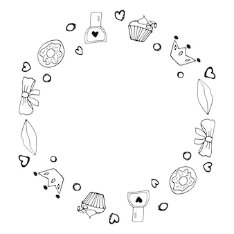 Jolie bordure avec des symboles du féminisme et du mouvement de positivité corporelle. éléments de griffonnage dessinés à la main, autocollants, phrase et lettrage. conception de concept de femmes.