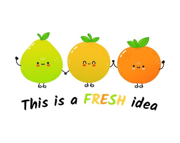 Jolie carte de concept d'amis pamplemousse et mandarine heureux pomelo