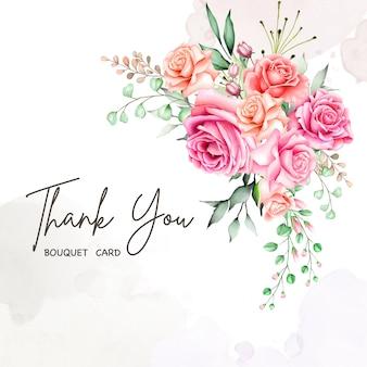 Jolie carte florale avec message de remerciement