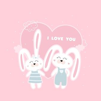 Jolie carte avec des lapins et du texte je t'aime