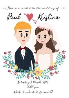 Jolie carte de mariage avec un couple dans une couronne de fleurs