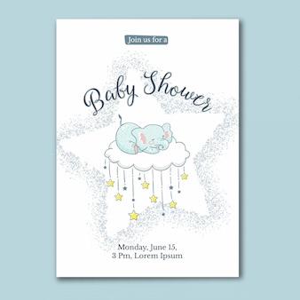 Jolie carte de naissance pour bébé éléphant