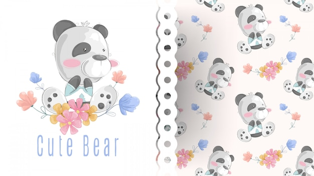 Jolie carte ours en peluche avec motif