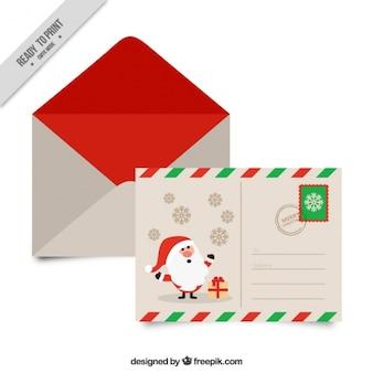 Jolie carte postale du père noël avec enveloppe