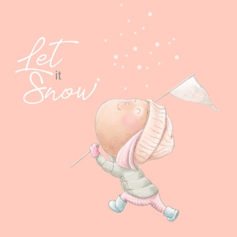 Jolie carte postale d'hiver avec une fille en dessin animé