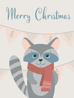 Jolie carte avec un raton laveur. cartes-cadeaux de voeux de noël avec des éléments d'hiver et des souhaits de vacances. illustration de vecteur d'hiver isolé sur fond blanc.