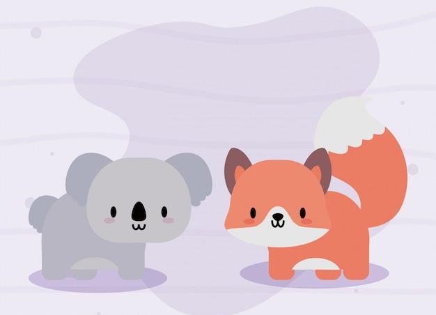 Jolie carte avec renard et koala, kawaii