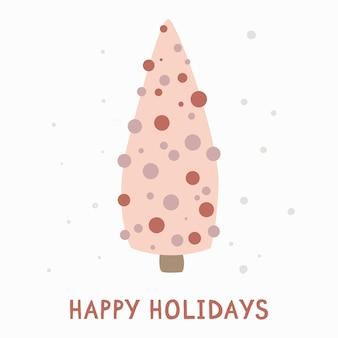 Jolie carte avec un sapin de noël. cartes-cadeaux de voeux de noël avec des éléments d'hiver et des souhaits de vacances. illustration de vecteur d'hiver isolé sur fond blanc.