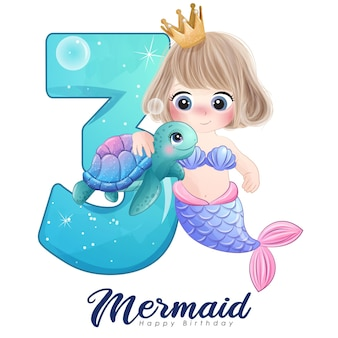 Jolie carte de sirène doodle avec numéro pour la fête d'anniversaire