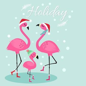 Jolie carte de vacances avec famille de flamants roses.