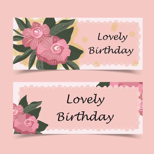 Jolie carte de voeux d'anniversaire décorée de fleurs