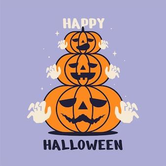 Jolie carte de voeux halloween avec desig de vecteur visage citrouille