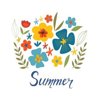Jolie carte de voeux heureuse avec des fleurs et du texte isolé sur fond blanc fleurs abstraites