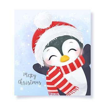 Jolie carte de voeux de noël avec illustration adorable pingouin.