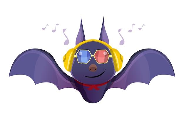 Une jolie chauve-souris à l'aide d'un casque pour écouter de la musique
