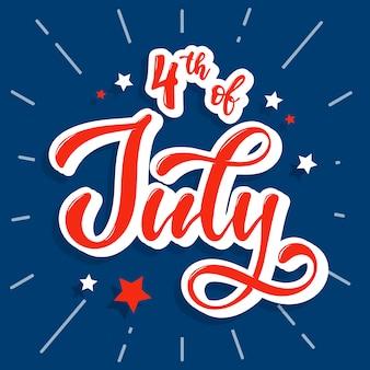 Jolie citation de lettrage à la main '4 juillet'