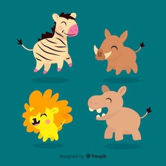 Jolie collection d'animaux avec lion