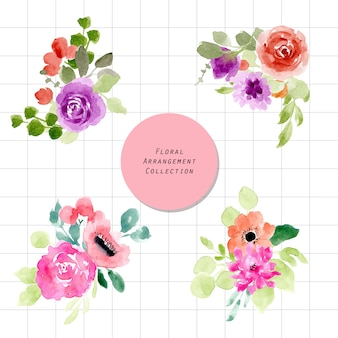 Jolie collection d'arrangement floral aquarelle