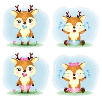 Jolie collection de cerfs de bébé dans le style des enfants