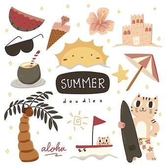 Jolie collection de doodle dessinés à la main d'été coloré