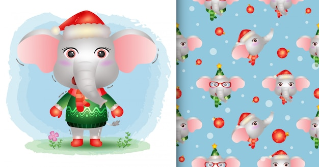 Une jolie collection de personnages de noël d'éléphant avec un chapeau, une veste et une écharpe. modèles sans couture et illustrations