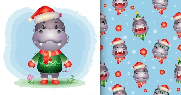 Une jolie collection de personnages de noël hippopotames avec un chapeau, une veste et une écharpe. modèles sans couture et illustrations