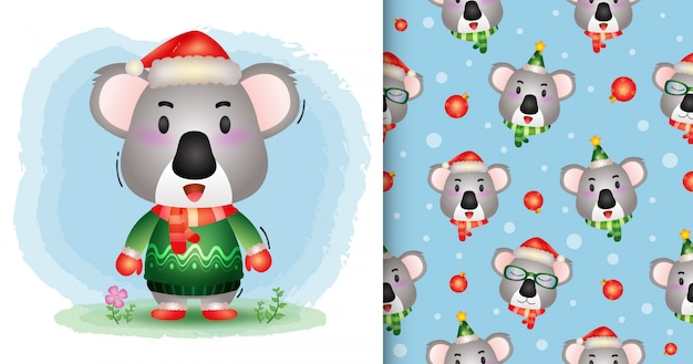 Une jolie collection de personnages de noël koala avec un chapeau, une veste et une écharpe. modèles sans couture et illustrations