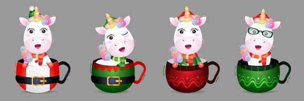 Jolie collection de personnages de noël licorne avec un chapeau