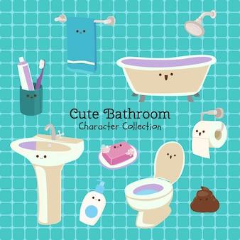 Jolie collection de personnages de salle de bain