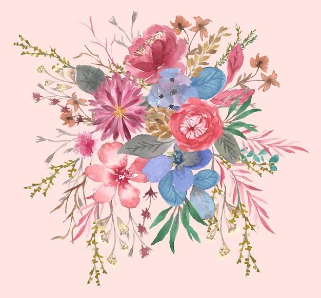 Jolie Composition Aquarelle Florale Vecteur Premium