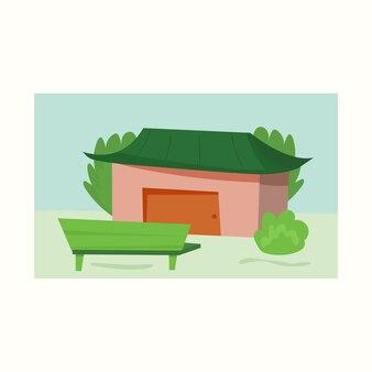 Jolie cour avec une maison et un banc. illustration vectorielle dans un style plat